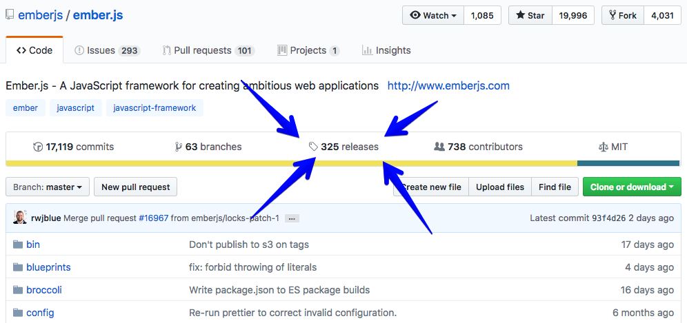 A screenshot that shows how to get to GitHub Releases